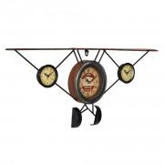 Стенен часовник Стар самолет -с аналогови стрелки - 78 x 5 x 32 см. - цветен - стъкло