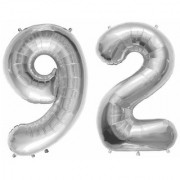 Stylewell Solid Silver Color 2 Digit Number (92) 3d Foil Balloon for Birthday Celebration Anniversary Parties
