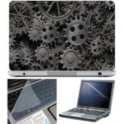 Finearts Laptop Skin - Black Gear With Screen Guard And Key Protector - Size 15.6 Inch