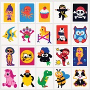 Baker Ross Value Pack Mixed Temporary Tattoos - 80 Kids Tattoos In Assorted Designs. Stick On Tattoos For Children. Bulk Fake Tattoos For Kids. Size 5cm x 4cm.