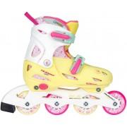 Nijdam justerbara inlines för barn gul/rosa/vit