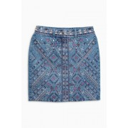 Womens Next Embroidered Denim Skirt - Mid Blue