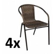 Set 4x Scaune Rattan si Metal pentru Curte Gradina Terasa sau Balcon Culoare NegruMaro