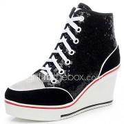 Dames Sneakers Modieuze laarzen Pailletten Suède Herfst Winter Causaal Pailletten Veters Sleehak Hak Zwart Zilver Roze 7,5 - 9,5 cm