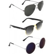 Zyaden Aviator, Round, Round Sunglasses(Black, Black, Blue)