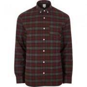 River Island Mens Dark Red check long sleeve button-down shirt