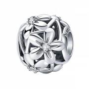 Talisman Charm argint 925 KRASSUS Flowers of Love, pentru bratara sau pandantiv lant, model flori