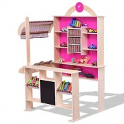 Pink Kids Wooden Toy Shop Market Shopping Pretend Play Set - By Choice Products