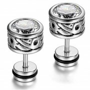 316L Steel Carved Stud Clear Cubic Zriconia CZ Screw Back Stud Earrings for Men/Women 2pcs
