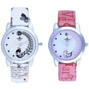 White Peackock With Lite Pink Peackock Fether Art Design Exclusive SCK Wrist Watch For Women Girl