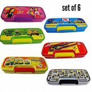 Pawan plastic Birthday Party Return Gift Set Of 6 Just Kids Like Cartoon Printed multipurpose kids stationary holder double Leval pen / pencil case box return gift set for school kids boys & girls (Medium )