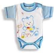 Detské body, krátky rukáv- GREEDY BEAR, modro-biele Velkosť: 86