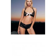 Butterfly Lace Halter Top with Satin Bow Tanga