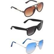 Zyaden Rectangular, Wayfarer, Aviator Sunglasses(Brown, Blue, Black)