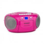 Auna BoomGirl Boom BoxGhetto Blaster FM și CD / MP3 player portabil ecran LCD casetofon rotund roz (CS15-BoomGirl PK)