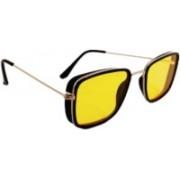 jazz style Aviator, Over-sized, Butterfly, Wayfarer, Wrap-around Sunglasses(Yellow)