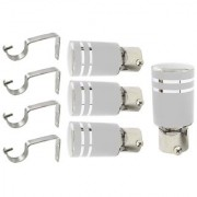 Hans Enterprise Silver Set of 4 Stainless Steel Single Curtain Rod Bracket pack of 8