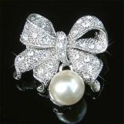 Cream White Pearl Bow Swarovski Crystal Brooch for Wedding Dress