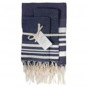1 Set de salle de bain Hamptons bleu jean/blanc - 100x200/50x70 cm