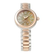 【83%OFF】ラウンドウォッチ ウィメンズ ケース:ブラウン ベルト:コンビ ファッション > 腕時計~~レディース 腕時計