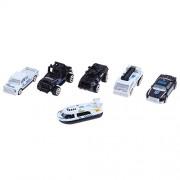 Electrobot Mini Die-cast Metal Playset Medical Ambulance Vehicles Model Toys Set for Kids, ladder truck, yacht, sedan car, Van, Jeep Truck, Helicopter (Medical) (POLICE)