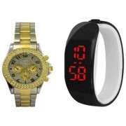 Paidu Golden and silver and LED Black Analog Couple Watches for Men and Women