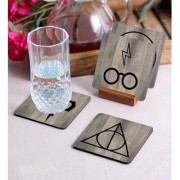Crazy Sutra Premium HD Printed Standard Size Coasters for Tea Coffee Cups Mugs Beer Cans Bar Glass Home Kitchen Office Desk Set of-4 (Cos-HarryPotter)