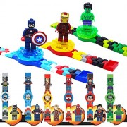Srmaji Exclusive 3D Captain America Digital Watch Superhero Design Digital Watch With 3 Additional Dial Changeable Building Blocks Figures Brick Watch For Kids Captain America Digital Watch With Small Captain America Figure Clamped On Watch Light Watch Fo