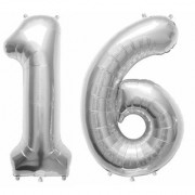 De-Ultimate Solid Silver Color 2 Digit Number (16) 3d Foil Balloon for Birthday Celebration Anniversary Parties