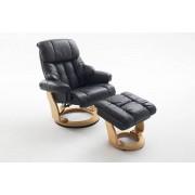 Lifestyle4Living Relaxsessel in schwarzem Echtleder inkl. Hocker, Gestell naturfarben, Maße: B/H/T ca. 90/104-89/91-122 cm
