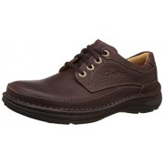 Clarks Men's Nature Three Mahogany Leather Sneakers - 5 UK