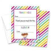 MyExpression.com 20Rainbow Stripes Gimnasia Girl llenar Cumpleaños Tarjetas de agradecimiento