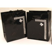 Pack of 2 Black and Diamontie with Butterfly Gift or Favor Bags