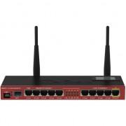 Router wireless MikroTik RB2011UiAS-2HnD-IN, 5 x porturi Gigabit, port serial RJ45, port SFP, LCD panel, port microUSB