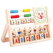 SPJ: Educational Wooden Multifunctional Calculation Frame Learning Bead Abacus Letter Clock Alphabet Digital Number...