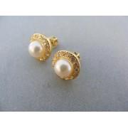 Zlaté náušnice žlté zlato perla kamienky šrubovačka DA330Z