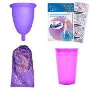 Промопакет менструална чашка MeLuna, дезинфекцираща чаша и 10 таблетки за стерилизация Размер S Спорт (Sport) Пръчица
