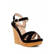 Elegant Footwear Hazzel Platform Wedge Sandal BLACK
