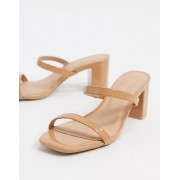 New Look strappy leather look heeled mule sandals in beige-Cream - female - Cream - Size: 3