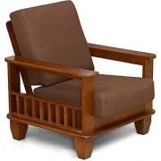 Solid Wood 1 Seater Sofa(Finish Color - Wenge)