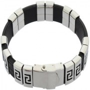 Sanaa Creations Classic Silver Stainless Steel Silicone Bracelet For Men.Silver Daily/Party Wear Stylish Fashion