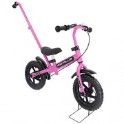 """Goplus 12"""" Kids Balance Bike No-Pedal Learn To Ride Pre Bike Push Walking Bicycle Adjustable Height with Bell Ring and Stand (Pink (with Handle))"""
