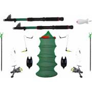 Set complet pescuit format din 2 lansete 2 mulinete 2 suporti 2 senzori 1 juvelnic 2 swinger 2 forface 1 racheta momit