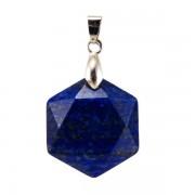 Fazettált hexagon lápisz lazuli medá