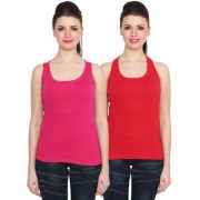 NumBrave Pink Red Cotton Round Neck Sleeveless Racer Back Top (Pack of 2)