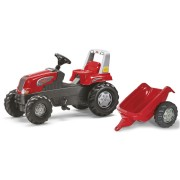 Tractor cu pedale si remorca copii Rolly Toys 800315 rosu