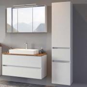 Kleines Badezimmer Set in Weiß und Wildeiche Optik Made in Germany (3-teilig)