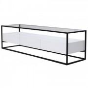 Meuble TV en verre et métal + 3 tiroirs blanc Ravy