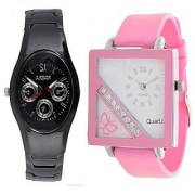 Rosra Black Men and Square Dial Cross Butterfly Pink Women Watches Couple For Men and Women