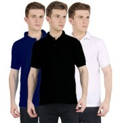 FUEGO Fashion Wear Combo Of Polo T-shirt For Men- Pack Of 3 FG-3CM-POLO-BLK-DB-WH